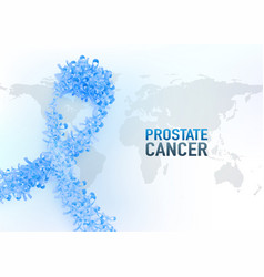 prostate cancer blue awareness ribbon background vector image