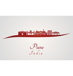 Pune skyline in red vector