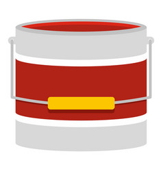 Red paint bucket icon isolated vector
