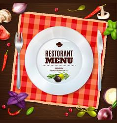 Restaurant menu realistic composition background vector
