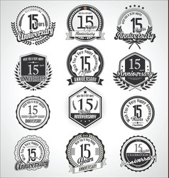Retro vintage anniversary badges and labels vector