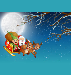 Santa claus and elf riding a sleigh flying at wint vector