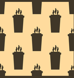 Seamless coffee cup pattern falt style vector