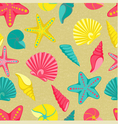 Seashell seamless pattern design for holiday vector