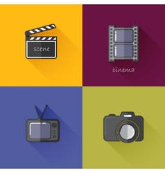 Set of concept icons for media industry camera TV vector