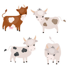 set of cute cows set of cute cows vector image