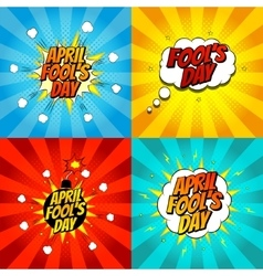 Set of pop art comic april fools day vector