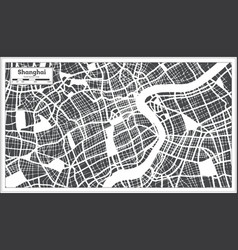 Shanghai china city map in retro style outline map vector