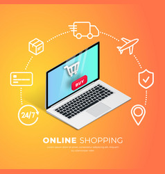 shopping online with line icons vector image