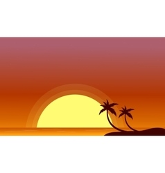 Silhouette of beach and big sun scenery vector