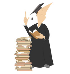 Smiling professor in a wig with pile of books illu vector