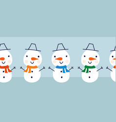 snowman seamless border cute snowmen vector image
