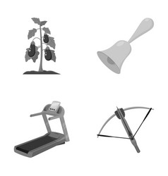 Sports fitness and other monochrome icon in vector