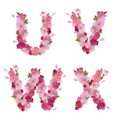 Spring alphabet with cherry flowers UVWX vector