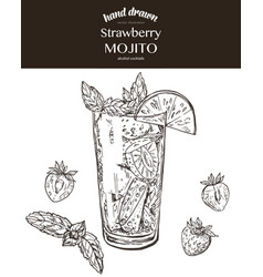 Strawberry mojito sketch vector