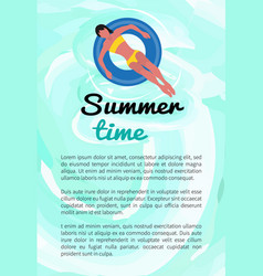 summertime woman bikini swimsuit in ring poster vector image