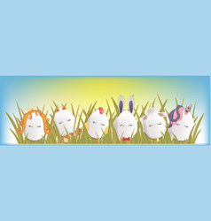 sweet easter egg characters in the grass with sky vector image