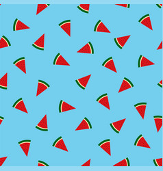 sweet watermelon slices seamless pattern vacation vector image
