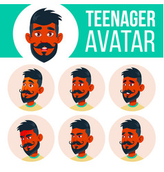 teen boy avatar set indian hindu asian vector image