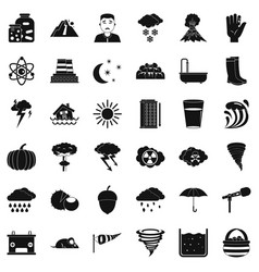 thunderstorm icons set simple style vector image