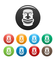 Tiki idol smile icons set color vector