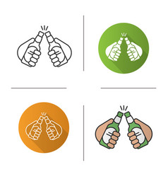 Toasting beer bottles in hands icon vector
