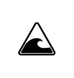 tsunami warning big waves flat icon vector image