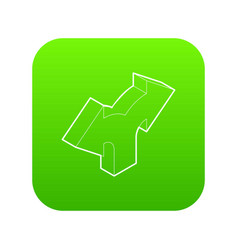 Two way direction arrow icon green vector