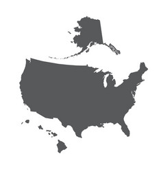 Usa map outline with alaska and hawaii islands vector