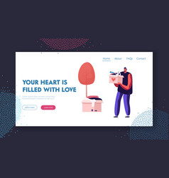 Volunteer carry donation box website landing page vector