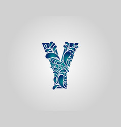 Water splash letter y logo icon droplets vector