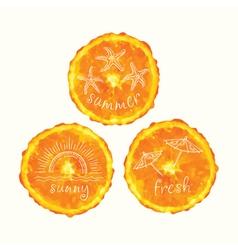 Watercolor orange slice circles hand drawn doodle vector