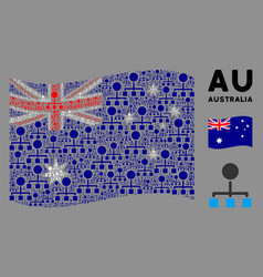 Waving australia flag collage hierarchy icons vector