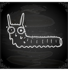 Worm Drawing on Chalk Board vector