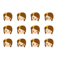 Cute girl face with red bow showing the different vector