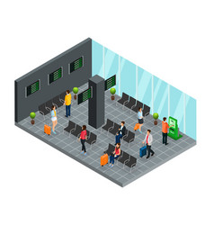 isometric airport departure lounge concept vector image vector image