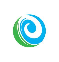 leaf round ecology logo image vector image