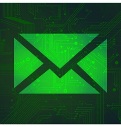 Message circuit over green background vector image vector image