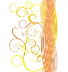 orange waves and curves vector image
