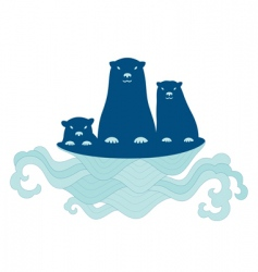 sea otter family vector image vector image