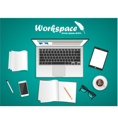 workspace with laptop phone notebook vector image