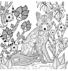 Zentangle stylized fox in garden vector image vector image