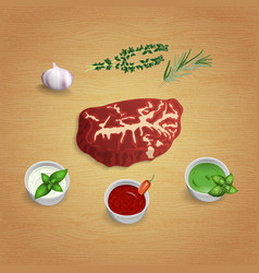 a piece of raw organic marble beef with herbs and vector image vector image