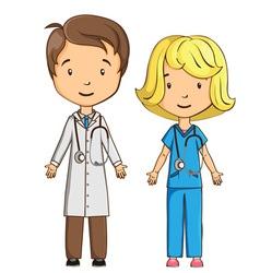 Cartoon doctor and nurse vector image vector image