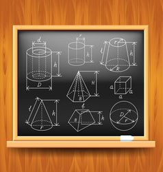 Geometric figures on black school board vector image vector image