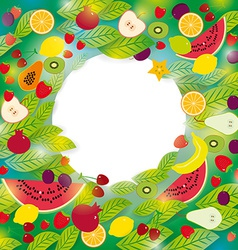 Healthy lifestyle Set of fruits and leaves on the vector image vector image
