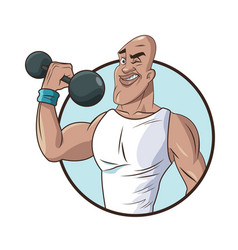 healthy man athletic muscular weight barbell vector image