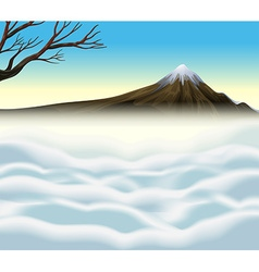 Nature scene with volcano and mist vector image vector image