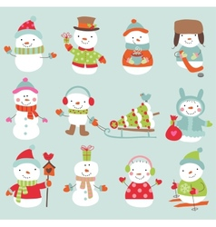 Set of 11 cute and funny snowmen vector image