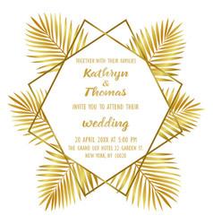 Wedding luxury tropical invitation card vector